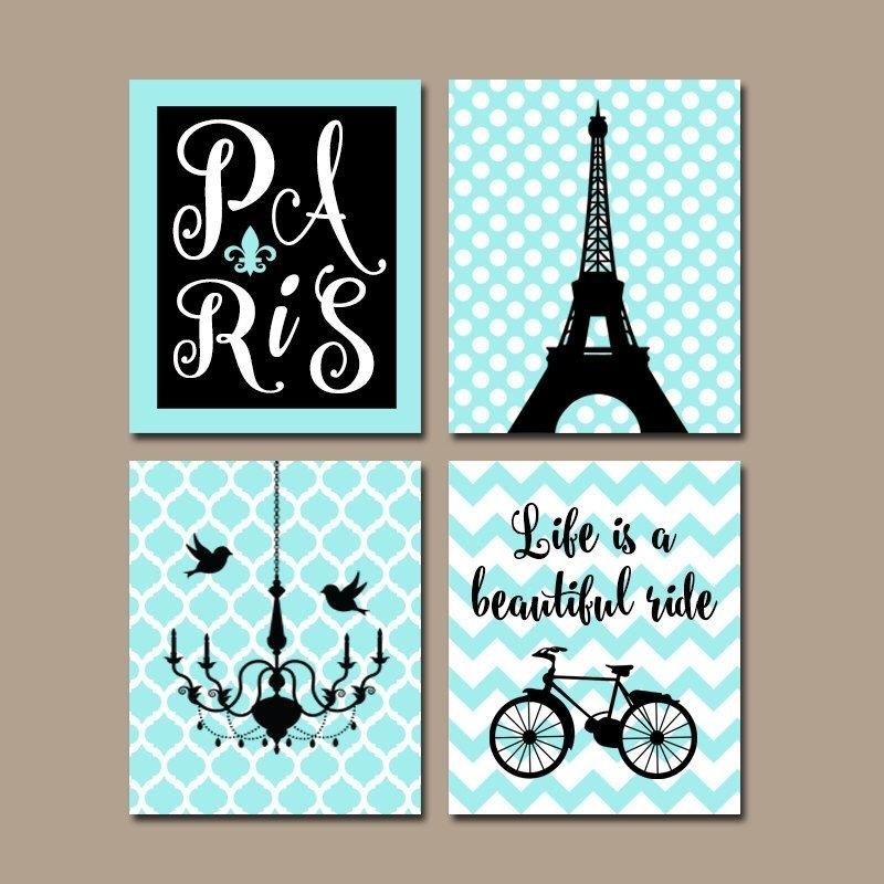 Paris Wall Art, Canvas Or Prints, Eiffel Tower Decor, Aqua Black With Paris Wall Art (View 8 of 10)