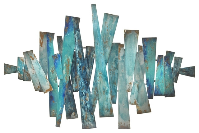 Patina Metal Slats Wall Decor – Industrial – Metal Wall Art – With Turquoise Wall Art (Image 7 of 20)
