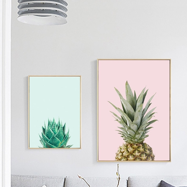 Peachy Ideas Cactus Wall Art Interior Decor Home Nordic Canvas Within Cactus Wall Art (Image 16 of 20)
