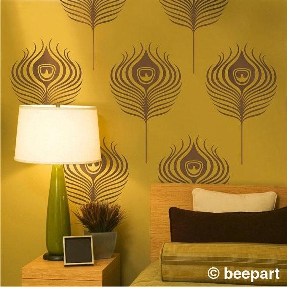 Peacock Feathers Wall Decals Art Deco Vinyl Wall Art Set Art Nouveau Throughout Art Deco Wall Art (View 19 of 25)