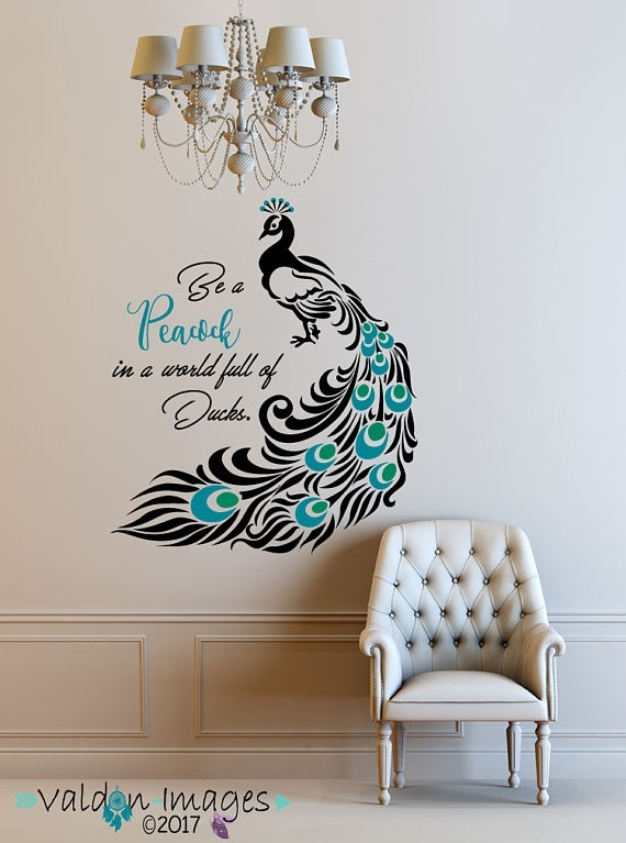 Peacock, Quote Decal, Peacock Feathers, Peacock Decor, Peacock Wall With Peacock Wall Art (Image 9 of 10)