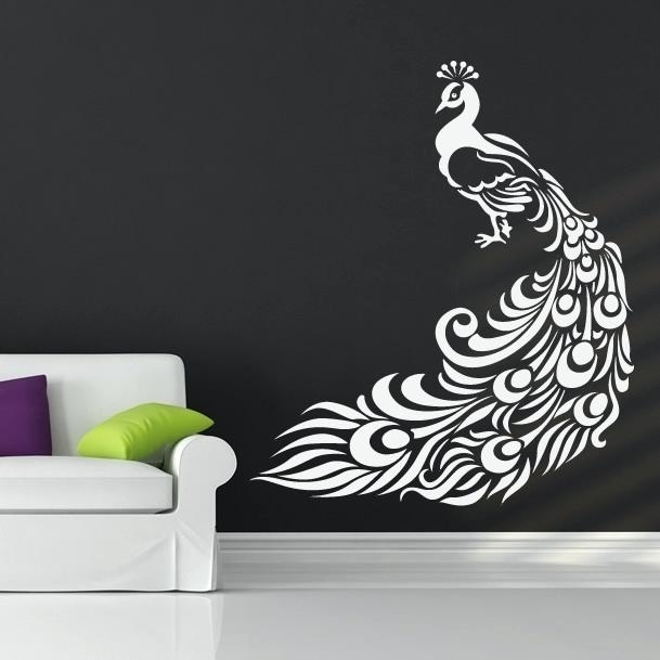 Peacock Wall Decal With Peacock Wall Art Peacock Wall Art Decal Wall Inside Peacock Wall Art (Image 6 of 10)
