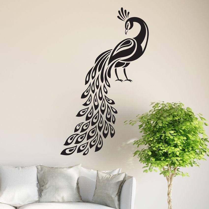 Peacock Wall Sticker Birds Decal Art Livingroom Vinyl Mural Graphics With Peacock Wall Art (Image 7 of 10)