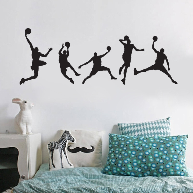 Personalized Decorative Wall Stickers Boy Playing Basketball Sports Within Sports Wall Art (Image 8 of 25)