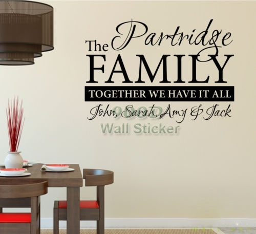 Personalized Family Name Wall Sticker, Home Decoration Quote Wall Throughout Family Name Wall Art (View 12 of 20)