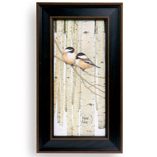 Personalized Love Birds Framed Canvas Print At Signals | Hb4112 Within Bird Framed Canvas Wall Art (Image 20 of 25)