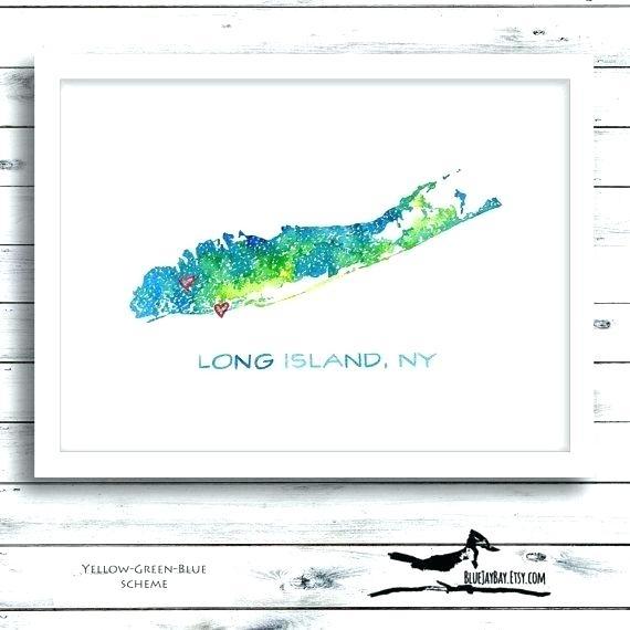 Personalized Map Wall Art Long Island Wall Art Long Island Map In Long Island Wall Art (View 18 of 25)
