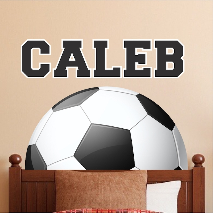 Personalized Soccer Bedroom Wall Art – Large Soccer Wallpaper – Boys Throughout Soccer Wall Art (View 23 of 25)
