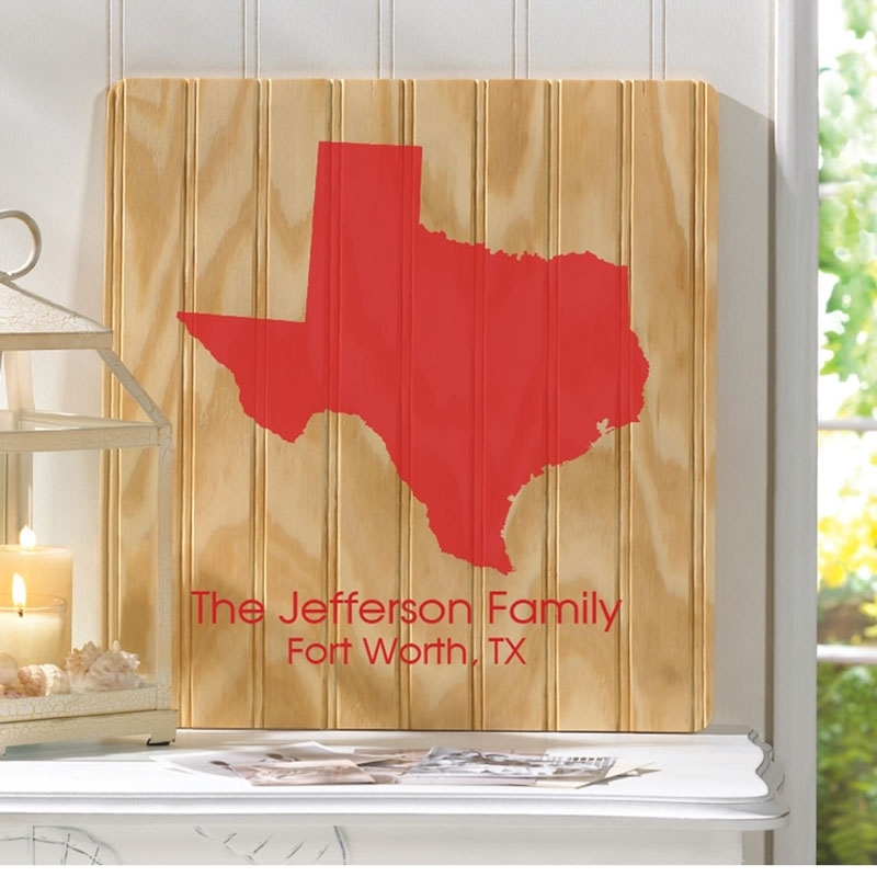 Personalized Texas Wood Wall Art Sign Gc1280 Inside Personalized Wood Wall Art (Image 11 of 25)