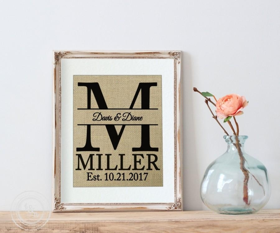 Personalized Wedding Gift, Burlap Personalized Wedding Gift Monogram In Monogram Wall Art (View 6 of 25)