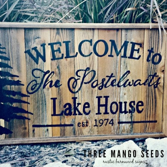 Personalized Welcome Rustic Wood Sign / 17X25 / Hand Lettered Regarding Lake House Wall Art (Image 5 of 10)