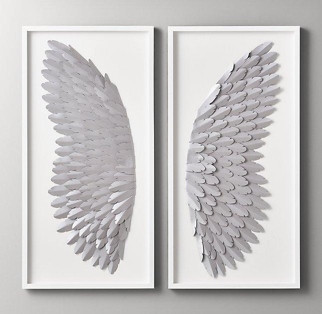 Pewter Hand Folded Paper Angel Wing Art Inside Feather Wall Art (Image 21 of 25)