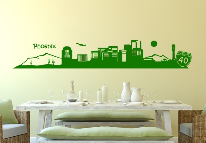 Phoenix Arizona Wall Decal – Great Cityscape Vinyl Art Inside Arizona Wall Art (Image 22 of 25)