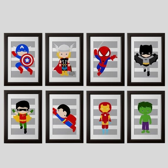 Pick 6, Superhero Wall Prints, Super Hero Wall Art Boys Room Art Or With Superhero Wall Art (Image 6 of 20)