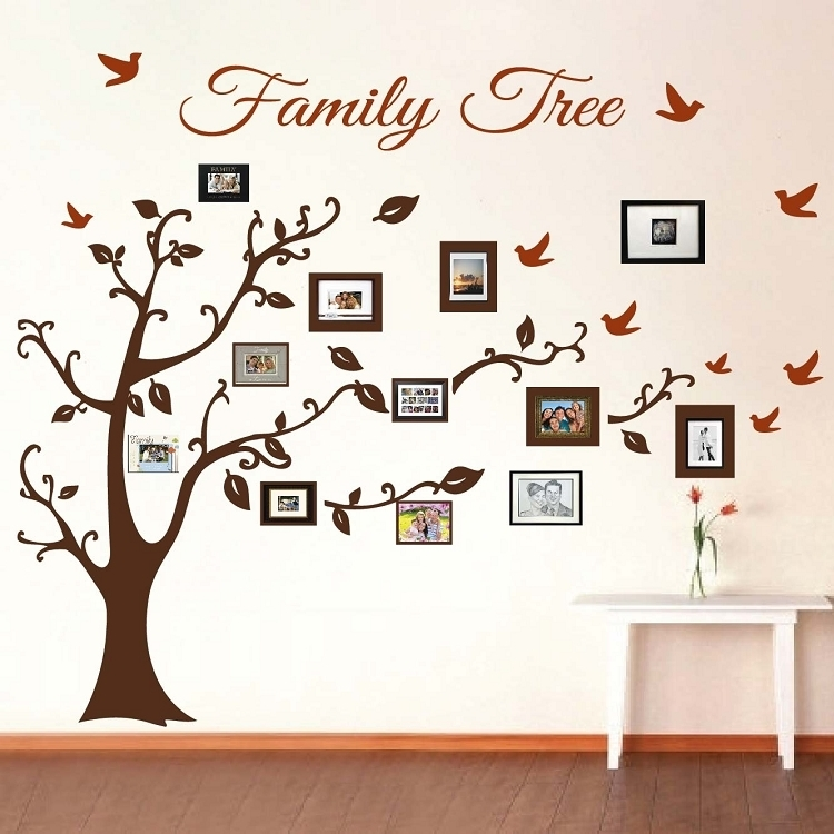 Picture Frame Family Tree Wall Art, Tree Decals   Trendy Wall Designs Intended For Wall Tree Art (Image 12 of 20)