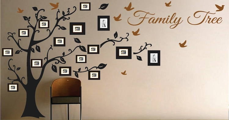 Picture Frame Family Tree Wall Art, Tree Decals | Trendy Wall Designs Within Family Tree Wall Art (View 5 of 10)