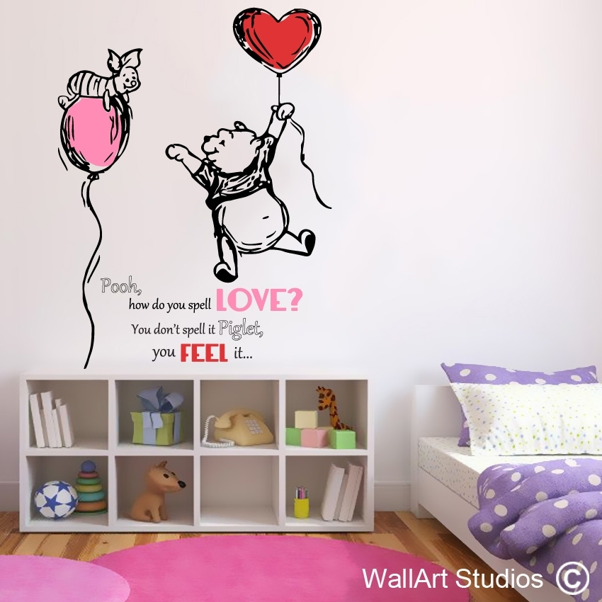 Piglet And Pooh Love | Nursery Wall Decals | Wall Art Studios Intended For Wall Art Stickers (View 6 of 10)