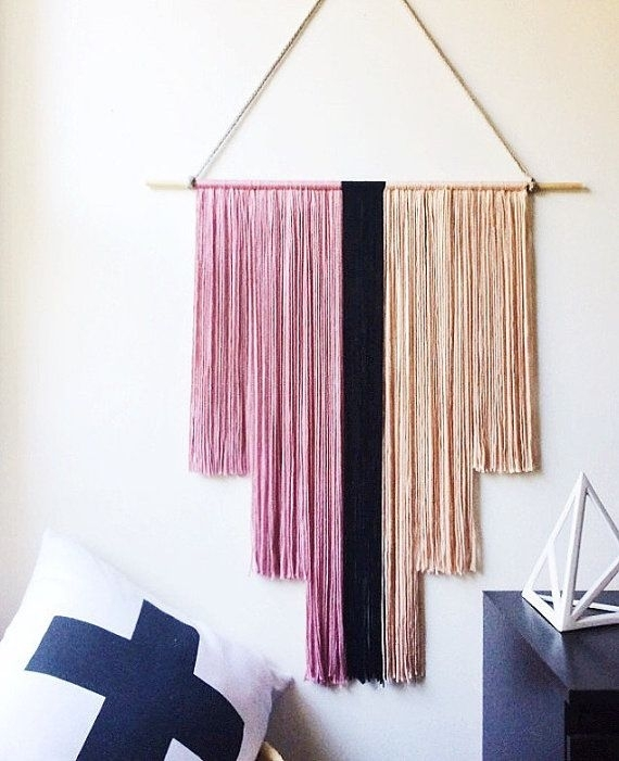 Pink And Black Yarn Wall Hanging Art Deco Banner Fiber Art Nursery For Yarn Wall Art (Image 21 of 25)