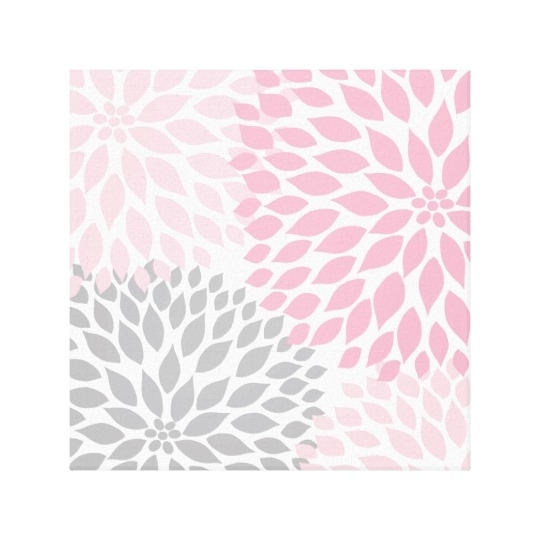 Pink And Gray Dahlia Square Wall Art | Zazzle With Regard To Pink Wall Art (Image 16 of 25)