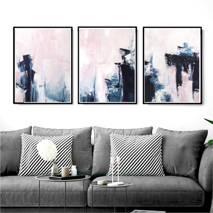 Pink And Navy Blue Triptych Wall Art, Set Of 3Semelart On Zibbet For Triptych Wall Art (Image 8 of 25)