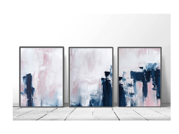 Pink And Navy Blue Triptych Wall Art, Set Of 3Semelart On Zibbet Throughout Triptych Wall Art (View 8 of 25)