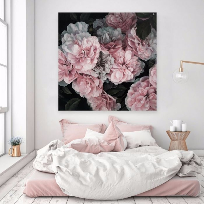 Pink Blooms (Square) Canvas Art | Wall Art | Art & Prints | The Regarding Pink Wall Art (Image 17 of 25)