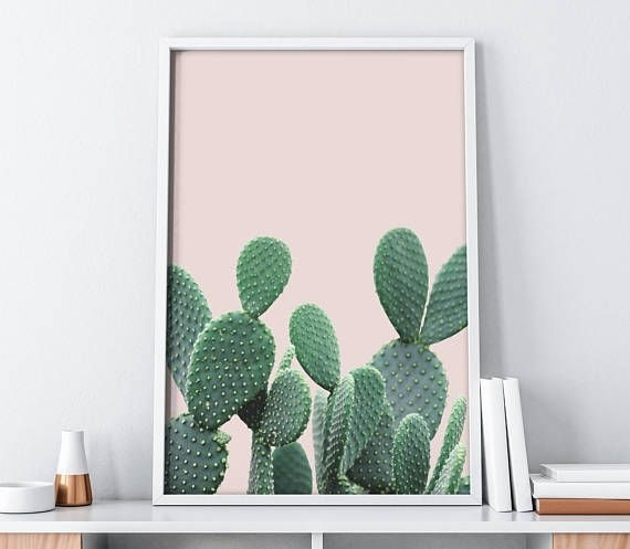 Pink Cactus Large Wall Art Digital Print| Tumblr Boho Chic Decor Intended For Cactus Wall Art (View 13 of 20)