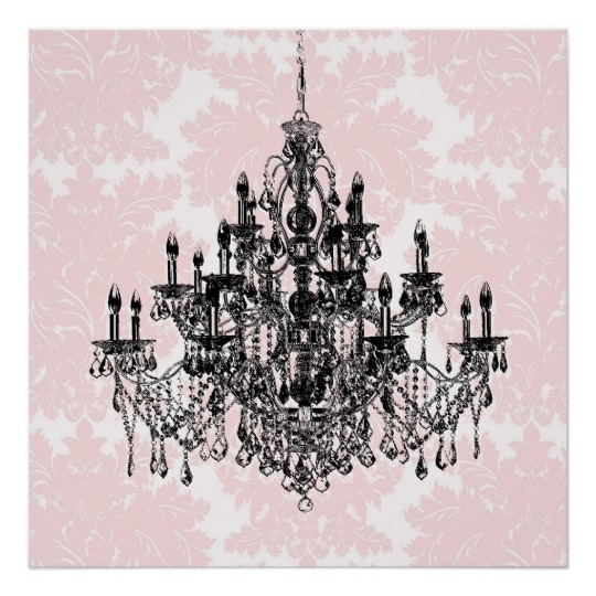 Pink Damask Chandelier Wall Art Print | Zazzle Intended For Chandelier Wall Art (Image 17 of 20)