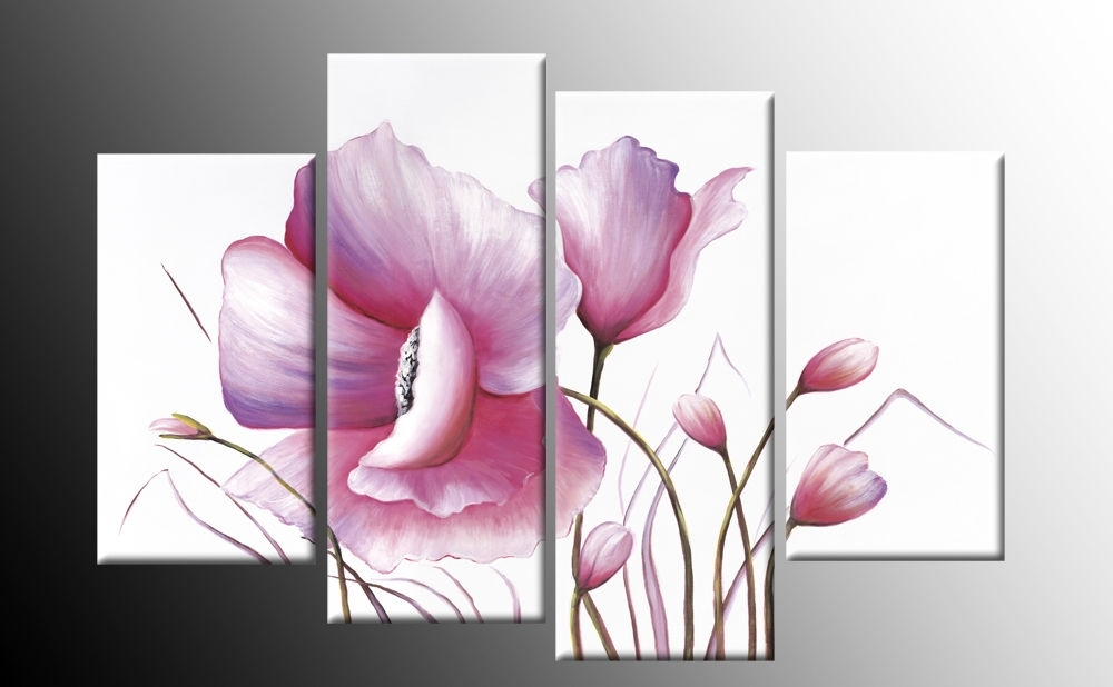 Pink Floral Canvas Flower Painting Wall Art Split Multi 4 Panel Rdy Pertaining To Pink Wall Art (View 20 of 25)