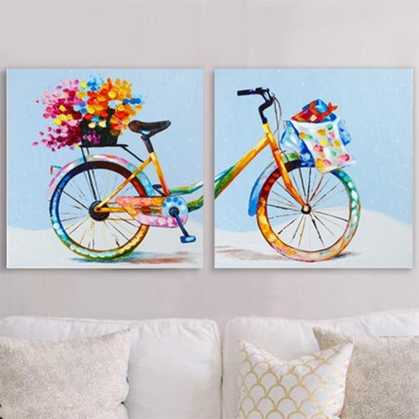 Pointillism Bicycle Painting Wall Art (Set Of 2) – Apollobox Throughout Bicycle Wall Art (Image 20 of 20)