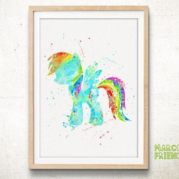 Pony Rainbow Dash – Watercolor Art Print, From Marcofriend On Within My Little Pony Wall Art (View 17 of 20)