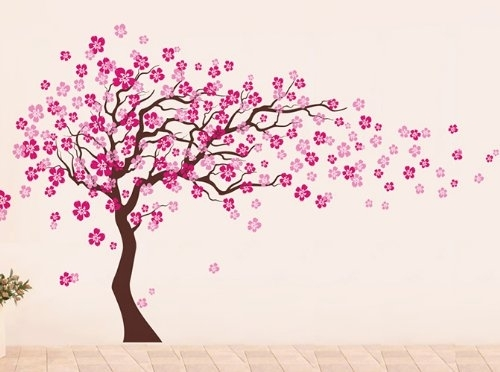 Pop Decors Removable Vinyl Art Wall Decals Mural, Cherry Blossom Within Pink Wall Art (Image 23 of 25)
