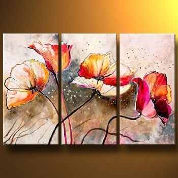 Poppies Lashedthe Wind Modern Canvas Art Wall Decor Floral Oil For Floral Canvas Wall Art (View 11 of 25)