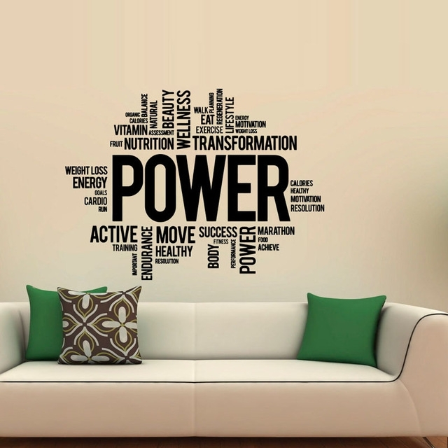 Power Fitness Wall Decals Art Vinyl Sticker Sport Gym Words Home With Regard To Wall Sticker Art (View 10 of 10)