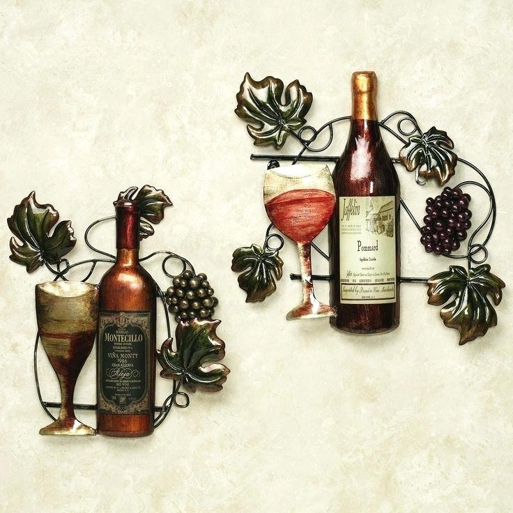 Practical Wine Metal Wall Art L7748066 Wine Bottle Metal Wall Decor With Touch Of Class Wall Art (View 21 of 25)