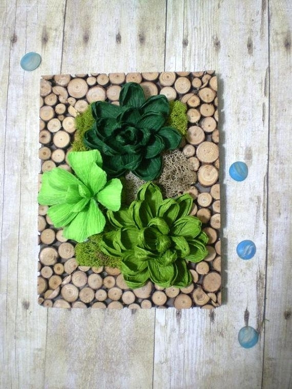 Preserved Moss Wall Art Crepe Paper Succulent Gift For | Green Within Succulent Wall Art (Image 13 of 25)
