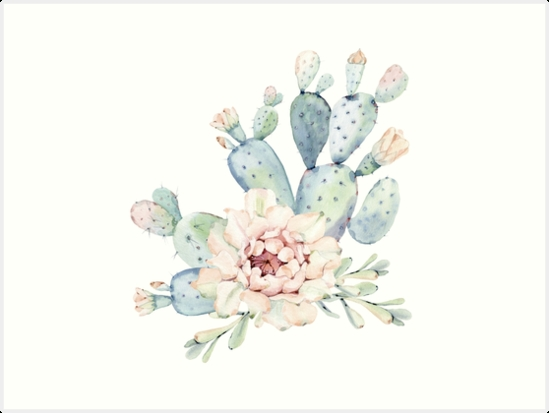 """Pretty Cactus Pink White And Green Desert Cacti Wall Art"""" Art Prints Intended For Cactus Wall Art (View 19 of 20)"""