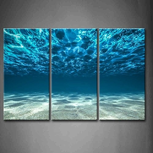 Print Artwork Blue Ocean Sea Wall Art Decor Poster Artworks 3 Panel Pertaining To Ocean Wall Art (Image 20 of 25)