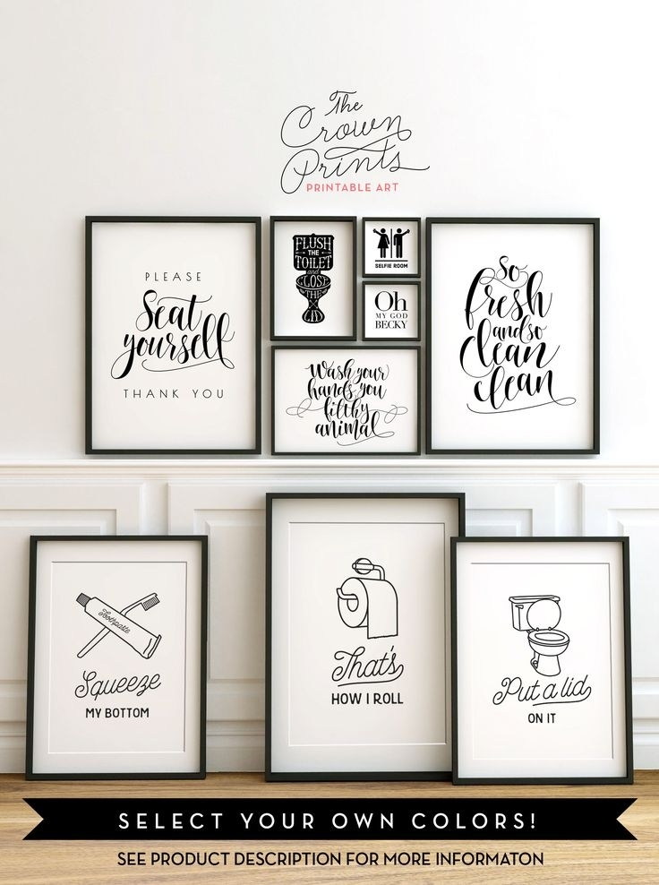 Printable Bathroom Wall Art From The Crown Prints On Etsy – Lots Of For Wall Art For Bathroom (View 1 of 20)