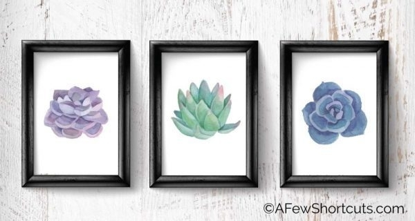 Printable Watercolor Succulent Wall Art – A Few Shortcuts Throughout Succulent Wall Art (Image 14 of 25)