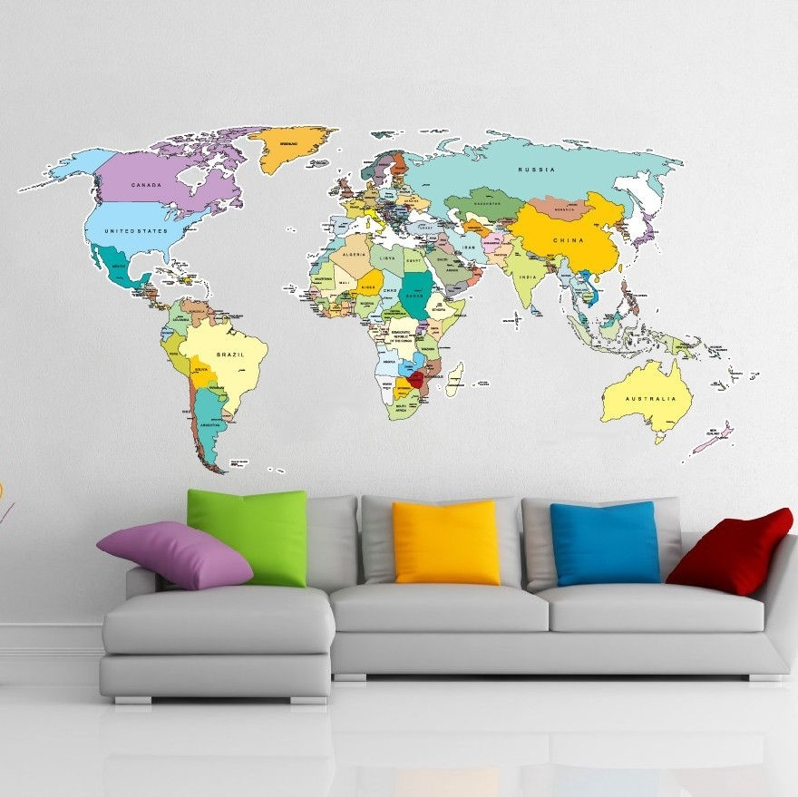 Printed World Map Wall Sticker | The Danger Zone! | Pinterest Intended For Wall Art Stickers World Map (Image 11 of 25)