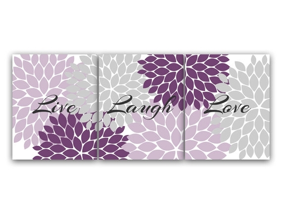 Purple And Grey Bedroom Decor, Live Laugh Love, Instant Download For Purple And Grey Wall Art (View 1 of 25)