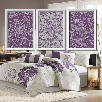 Purple Gray Bedroom Wall Art Bathroom From Trm Design | Wall Art Regarding Purple And Grey Wall Art (View 4 of 25)