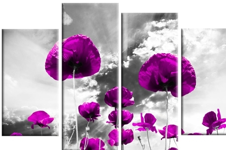 Purple On Grey Poppies Design Wall Art 4 Panel Canvas Wall Art Print Inside Purple And Grey Wall Art (View 3 of 25)