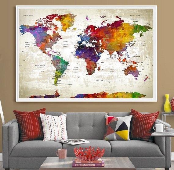 Push Pin Travel World Map Extra Large Wall Art World Map | Etsy Within Wall Art World Map (Image 13 of 25)