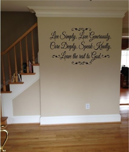 Quote It! - Live Simply Leave The Rest To God Wall Quote with regard to Motivational Wall Art