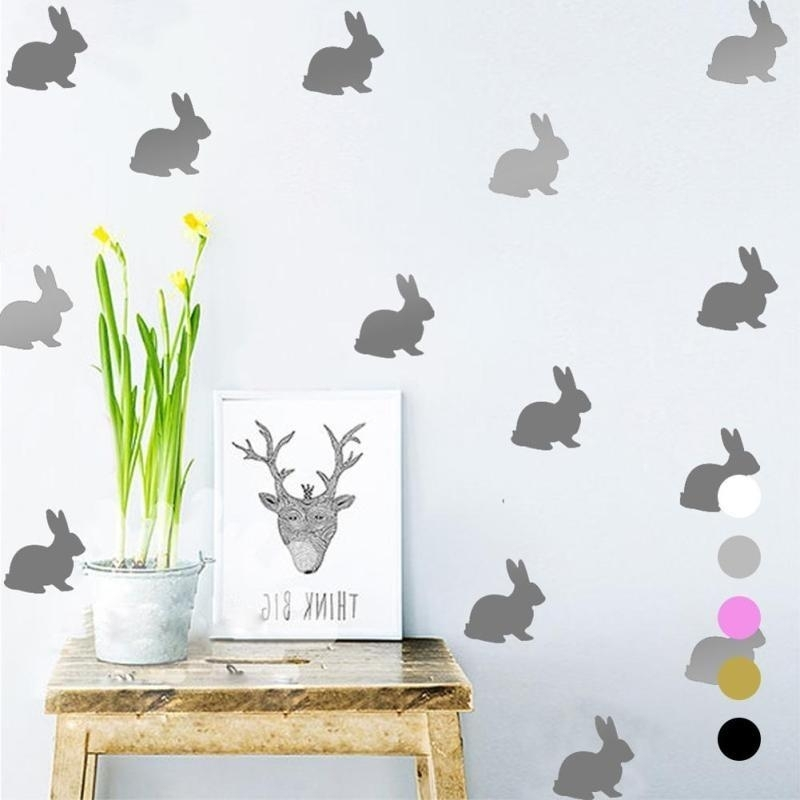 Rabbit Wall Decals Cartoon Diy Wall Stickers Kids Children Room Home Pertaining To Bunny Wall Art (Image 16 of 20)