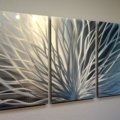 Radiance – 3 Panel Metal Wall Art Abstract Contemporary Modern Decor For Metal Wall Art Panels (View 2 of 20)