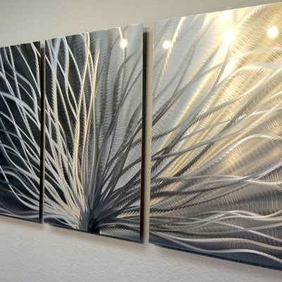 Radiance – 3 Panel Metal Wall Art Abstract Contemporary Modern Decor Throughout Wall Art Panels (Image 15 of 25)
