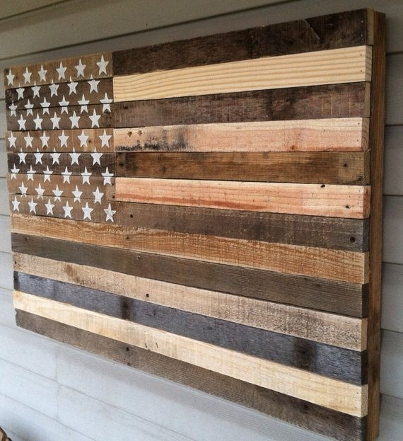 Reclaimed Pallet American Flag Hanging Wall Art 38 Door Kustomwood Inside Rustic American Flag Wall Art (Image 14 of 25)